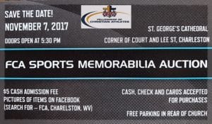17th Annual Fellowship of Christian Athletes Sports Memorabilia Auction Set for November